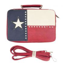 TXA221 BIBLE COVER w/TEXAS FLAG~RED