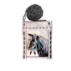 2030W193 WESTERN HORSE EMBROIDERY HIPSTER/CELL PHONE BAG BEIGE