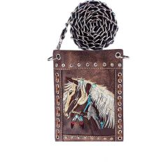 2030W193 WESTERN HORSE EMBROIDERY HIPSTER/CELL PHONE BAG BROWN