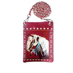 2030W193 WESTERN HORSE EMBROIDERY HIPSTER/CELL PHONE BAG RED