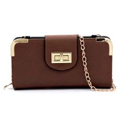AD041 FASHION TURN-LOCK ACCENT CROSSBODY WALLET w/LONG STRAP~BROWN