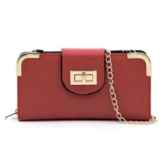 AD041 FASHION TURN-LOCK ACCENT CROSSBODY WALLET w/LONG STRAP~RED