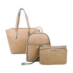 LF19187-T3 3-IN-1 MODERN STYLISH SATCHEL BACKPACK AND CLUTCH SET~APRICOT