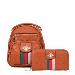 BE10-8667W FASHION STRIPED QUEEN BEE ACCENT BACKPACK AND WALLET SET~BROWN