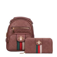 BE10-8667W FASHION STRIPED QUEEN BEE ACCENT BACKPACK AND WALLET SET~DARK ROSE