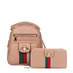 BE10-8667W FASHION STRIPED QUEEN BEE ACCENT BACKPACK AND WALLET SET~NUDE