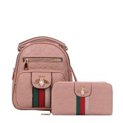 BE10-8667W FASHION STRIPED QUEEN BEE ACCENT BACKPACK AND WALLET SET~PINK