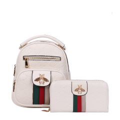 BE10-8667W FASHION STRIPED QUEEN BEE ACCENT BACKPACK AND WALLET SET~WHITE