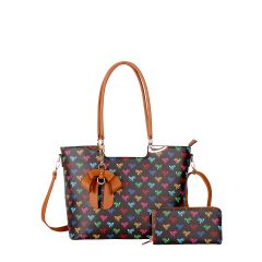 BE2-8567W QUEEN BEE MONOGRAM 2-in-1 BOW ACCENT TOTE WALLET SET~BLACK