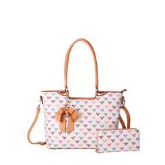 BE2-8567W QUEEN BEE MONOGRAM 2-in-1 BOW ACCENT TOTE WALLET SET~WHITE