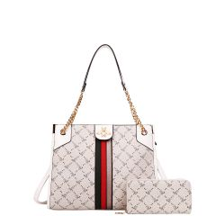 BE4S-8646W 2-in-1 FASHION STRIPED QUEEN BEE ACCENT SATCHEL WALLET SET~WHITE