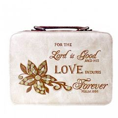 BL13502W102-LOVE BIBLE VERSE EMBROIDERED BIBLE COVER~BEIGE