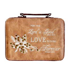 BL13502W102-LOVE BIBLE VERSE EMBROIDERED BIBLE COVER~TAN