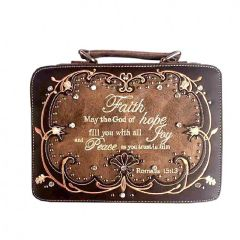 BL13502W115-FAITH BIBLE VERSE EMBROIDERED BIBLE COVER~BROWN