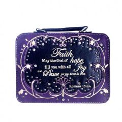 BL13502W115-FAITH BIBLE VERSE EMBROIDERED BIBLE COVER~PURPLE