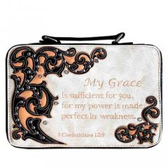 BL13502W151 BIBLE VERSE EMBROIDERED BIBLE COVER~BEIGE