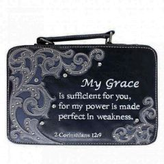 BL13502W151 BIBLE VERSE EMBROIDERED BIBLE COVER~BLACK