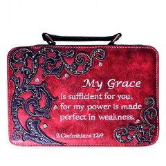 BL13502W151 BIBLE VERSE EMBROIDERED BIBLE COVER~RED