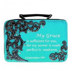 BL13502W151 BIBLE VERSE EMBROIDERED BIBLE COVER~TURQUOISE