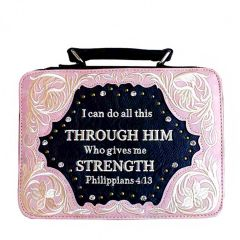 BL13502W159 BIBLE VERSE EMBROIDERED BIBLE COVER~PINK