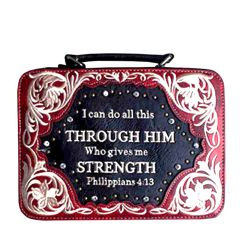 BL13502W159 BIBLE VERSE EMBROIDERED BIBLE COVER~WINE
