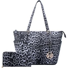 LE1009W LEOPARD TEXTURED SHOPPER TOTE BAG w/MATCHING WALLET~BLACK