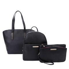 LF19187-T3 3-IN-1 MODERN STYLISH SATCHEL BACKPACK AND CLUTCH SET~BLACK