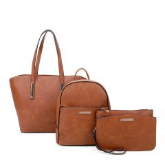 LF19187-T3 3-IN-1 MODERN STYLISH SATCHEL BACKPACK AND CLUTCH SET~BROWN