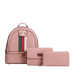 CR-8598S FASHION STRIPED QUEEN BEE ACCENT BACKPACK w/CROSSBODY BAG AND WRISTLET~PINK