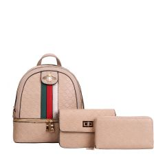 CR-8598S FASHION STRIPED QUEEN BEE ACCENT BACKPACK w/CROSSBODY BAG AND WRISTLET~TAUPE