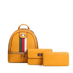 CR-8598S FASHION STRIPED QUEEN BEE ACCENT BACKPACK w/CROSSBODY BAG AND WRISTLET~YELLOW