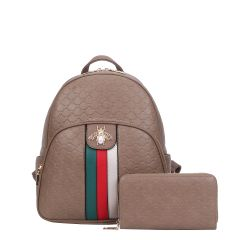 CR-8650W FASHION STRIPED QUEEN BEE ACCENT BACKPACK WALLET SET~KHAKI