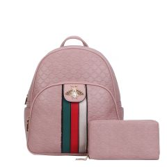 CR-8650W FASHION STRIPED QUEEN BEE ACCENT BACKPACK WALLET SET~PINK
