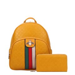 CR-8650W FASHION STRIPED QUEEN BEE ACCENT BACKPACK WALLET SET~YELLOW