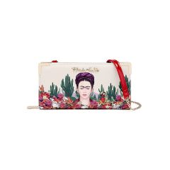 FC928 AUTHENTIC FRIDA KAHLO CACTUS SERIES ZIPPER WALLET w/CROSSBODY STRAP~RED