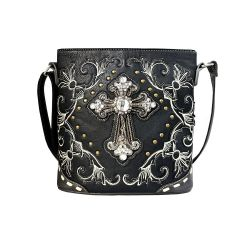G605W188LCR CONCEALED CARRY WESTERN CROSS EMBROIDERY CROSSBODY BAG~BLACK