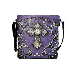 G605W188LCR CONCEALED CARRY WESTERN CROSS EMBROIDERY CROSSBODY BAG~PURPLE