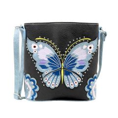G605W209 CONCEALED CARRY BUTTERFLY EMBROIDERED CROSSBODY BAG~BLACK