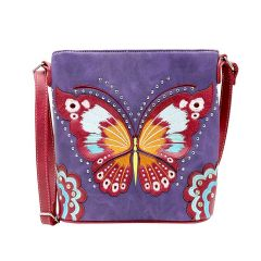 G605W209 CONCEALED CARRY BUTTERFLY EMBROIDERED CROSSBODY BAG~PURPLE