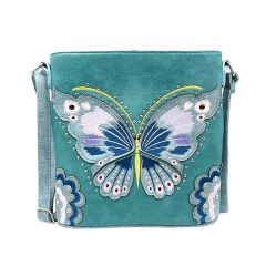 G605W209 CONCEALED CARRY BUTTERFLY EMBROIDERED CROSSBODY BAG~TURQUOISE