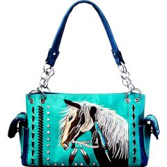G939W193 CONCEALED CARRY WESTERN HORSE EMBROIDERY SATCHEL TURQUOISE
