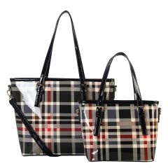 GZ6927 FASHION 2-in-1 CHECKERED PLAID SHOPPER SET~BLACK