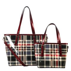 GZ6927 FASHION 2-in-1 CHECKERED PLAID SHOPPER SET~RED