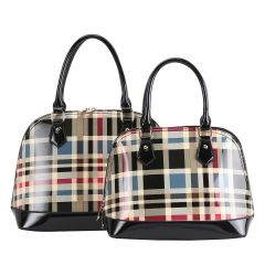 GZT2020 FASHION 2-in-1 CHECKERED PLAID DOME SATCHEL SET~BLACK