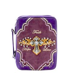 BL13502W170LCR BIBLE COVER w/RHINESTONE CROSS~PURPLE