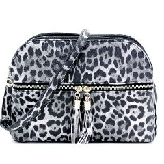 LE050 LEOPARD TEXTURED MULTI COMPARTMENT CROSSBODY w/DECORATIVE TASSEL~BLACK