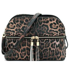 LE050 LEOPARD TEXTURED MULTI COMPARTMENT CROSSBODY w/DECORATIVE TASSEL~BROWN