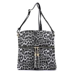 LE062 LEOPARD TEXTURED ZIP TASSEL CROSSBODY MESSENGER BAG~BLACK