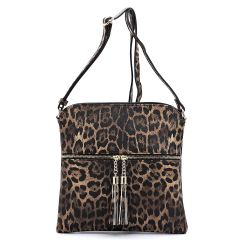 LE062 LEOPARD TEXTURED ZIP TASSEL CROSSBODY MESSENGER BAG~BROWN