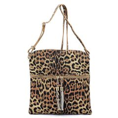 LE062 LEOPARD TEXTURED ZIP TASSEL CROSSBODY MESSENGER BAG~TAN